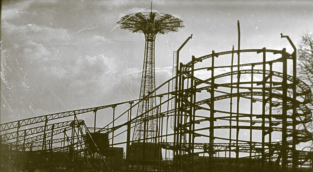 Coney Island Thunderbolt Ride and Parachute Jump by andytechie