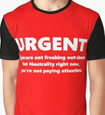 Urgent Net Neutrality Text White on Red Graphic T-Shirt