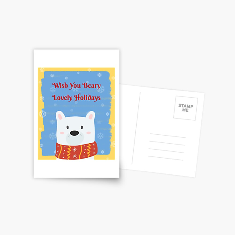 Cute Christmas Gifts - Wish You Beary Lovely Holidays - Stocking Stuffers Postcard