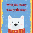 Cute Christmas Gifts - Wish You Beary Lovely Holidays - Stocking Stuffers by LJCM