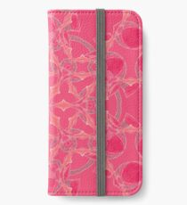 Red Over Twist Fall Into Winter Design Collection of Green Bee Mee iPhone Wallet/Case/Skin