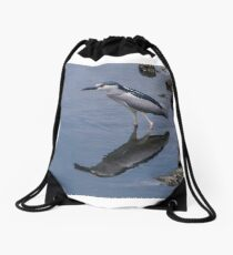 Black Crowned Night Heron  Drawstring Bag