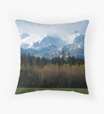 Comox Glacier with Autumn foreground Throw Pillow