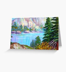 A WINTER Scenic View..  Lake by the Mountain...painting by my mom Greeting Card