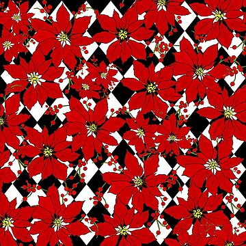 HARLEQUIN AND POINSETTIAS IN BLACK AND WHITE AND RED by Overthetopsm