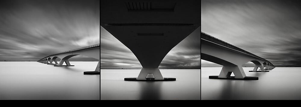 Zeeland Bridge studies Triptych by Joel Tjintjelaar