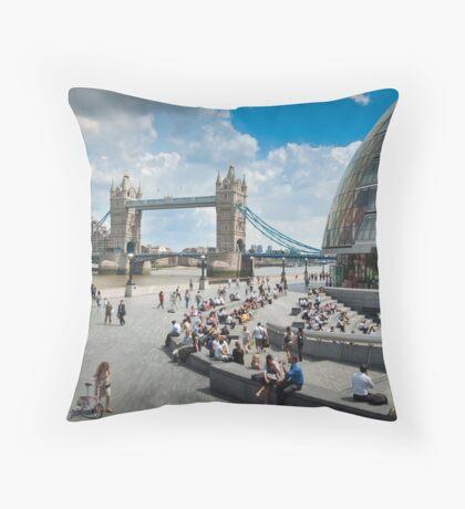 London City Hall and Tower Bridge Throw Pillow