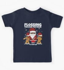 Flossing Through The Snow With Santa  Kids T-Shirt