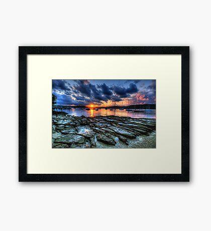 Sunset On The Rocks - Paradise Beach, Sydney  The HDR Experience Framed Print