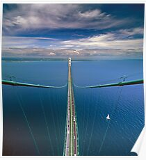 A View from the South Tower of the Mackinac Bridge Poster