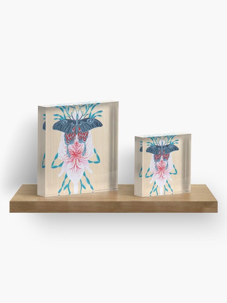 Vista alternativa de Bloque acrílico Pintura de tatuaje de orquídea mariposa en madera