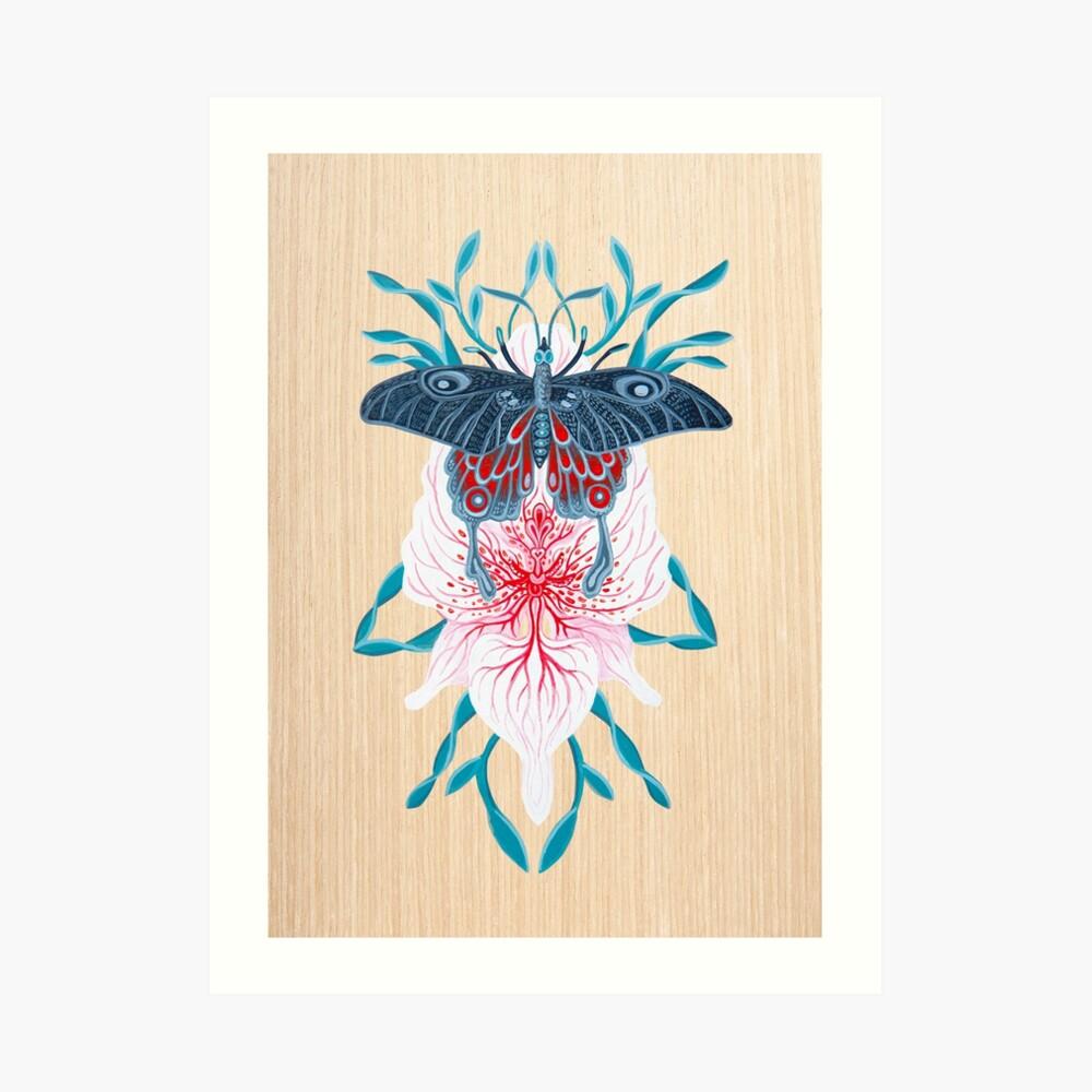 Pintura de tatuaje de orquídea mariposa en madera Lámina artística