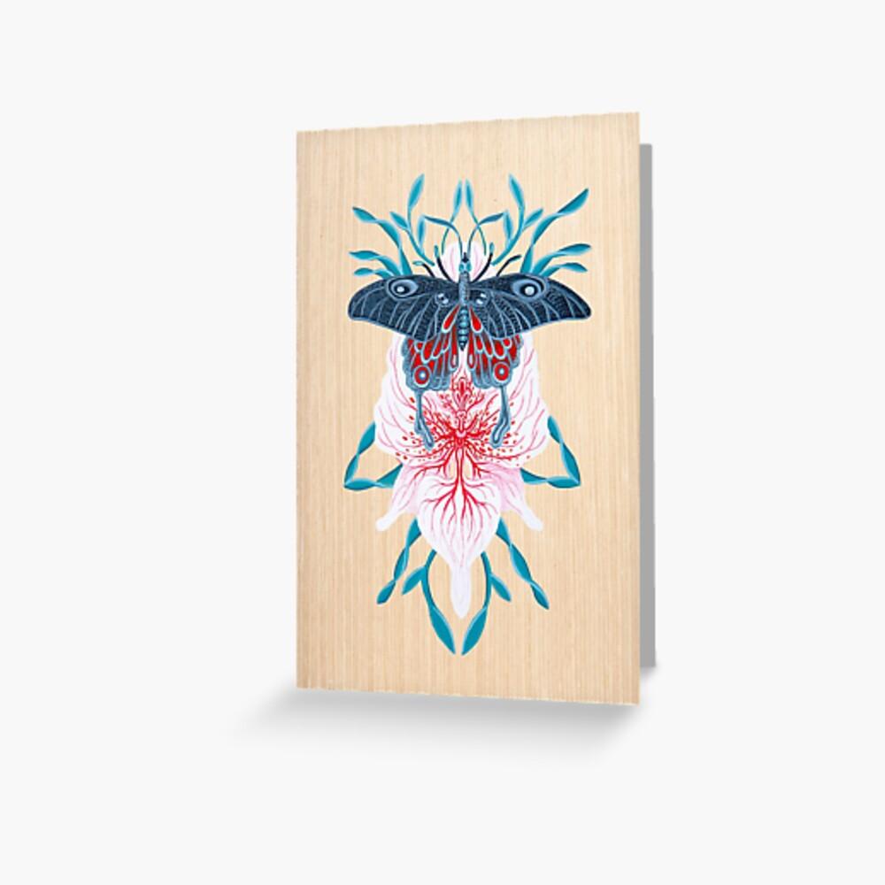 Pintura de tatuaje de orquídea mariposa en madera Tarjetas de felicitación