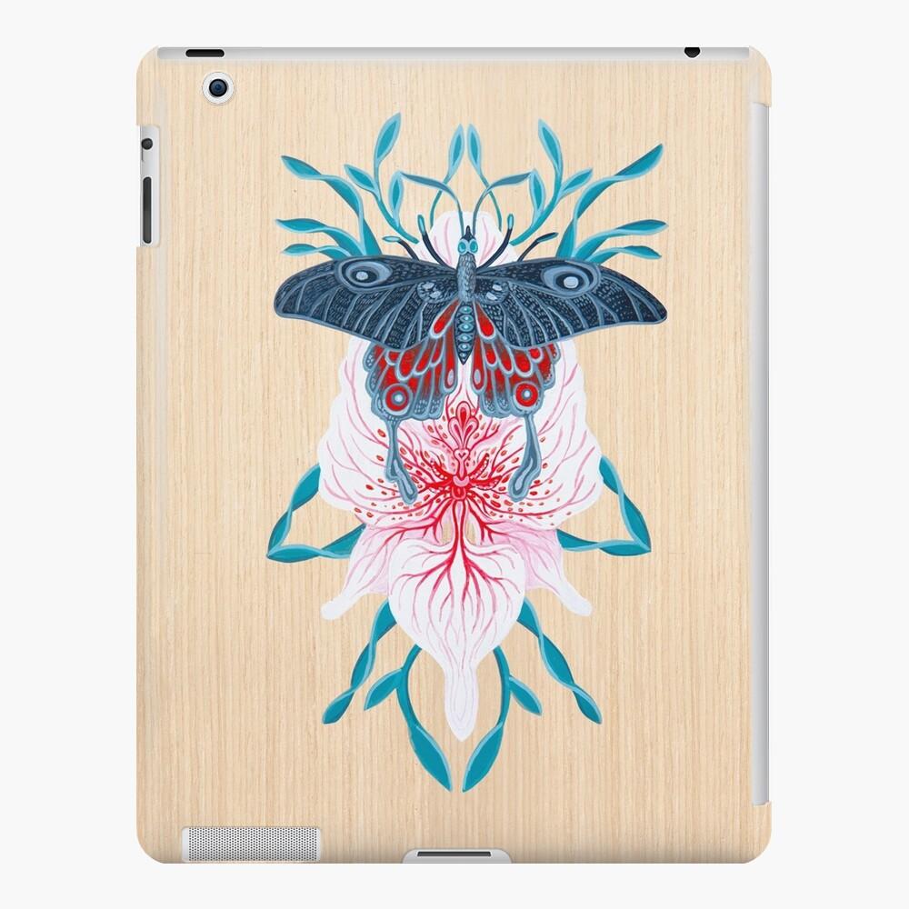 Pintura de tatuaje de orquídea mariposa en madera Funda y vinilo para iPad
