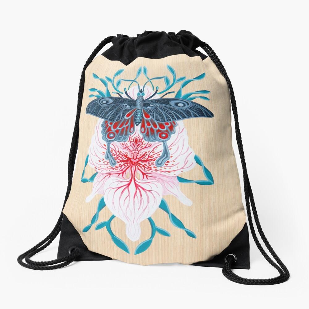 Pintura de tatuaje de orquídea mariposa en madera Mochila saco
