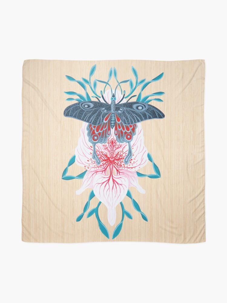 Vista alternativa de Pañuelo Pintura de tatuaje de orquídea mariposa en madera