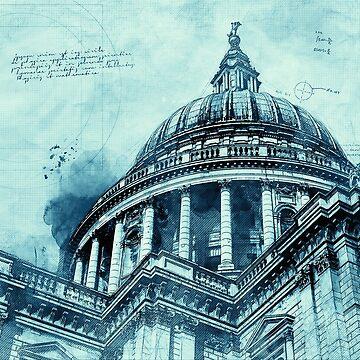 St Paul's Cathedral London Blueprint Blue Modern Decor by Loredan