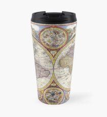 Antique Map of the World & Heavens Travel Mug