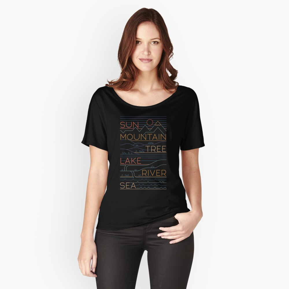 Sun, Mountain, Tree Relaxed Fit T-Shirt
