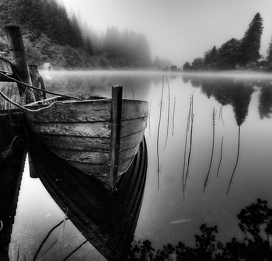 Loch Ard Misty boat I by David Mould