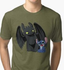 Stitch and Toothless Tri-blend T-Shirt