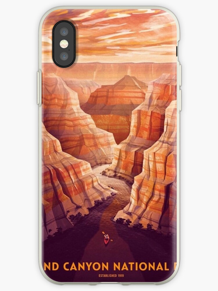 'Grand Canyon National Park Retro Poster ' iPhone Case by DigiArtyst