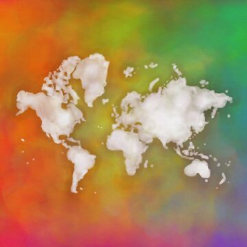 Vivid Rainbow Watercolor World Map by Map-Your-World