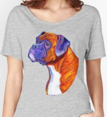 Colorful Brindle Boxer Dog Women's Relaxed Fit T-Shirt