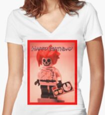 Happy Birthday Greeting Card Professor Boom  Women's Fitted V-Neck T-Shirt