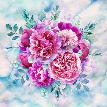 Beautiful pink peonies by CatyArte