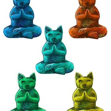 Yoga Cats Colorful Lotus Pose Cat by Loredan