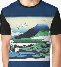 Umegawa in Sagami Cranes and Mount Fuji Graphic T-Shirt