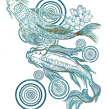 Japanese Koi in Teal and brass by SleeplessLady