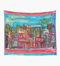 Red streetscape abstract Wall Tapestry