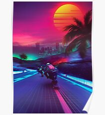 Synthwave Midnight Outrun Poster