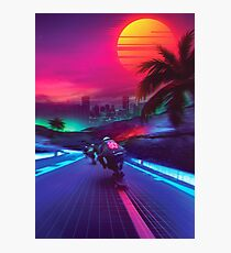 Synthwave Midnight Outrun Photographic Print