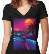Synthwave Midnight Outrun Women's Fitted V-Neck T-Shirt