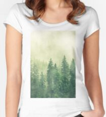 Fog coniferous art, fog forest prints, cloud mountain, hazy pine forest Fitted Scoop T-Shirt