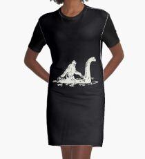 Bigfoot Sasquatch Riding The Loch Ness Monster Funny Graphic T-Shirt Dress