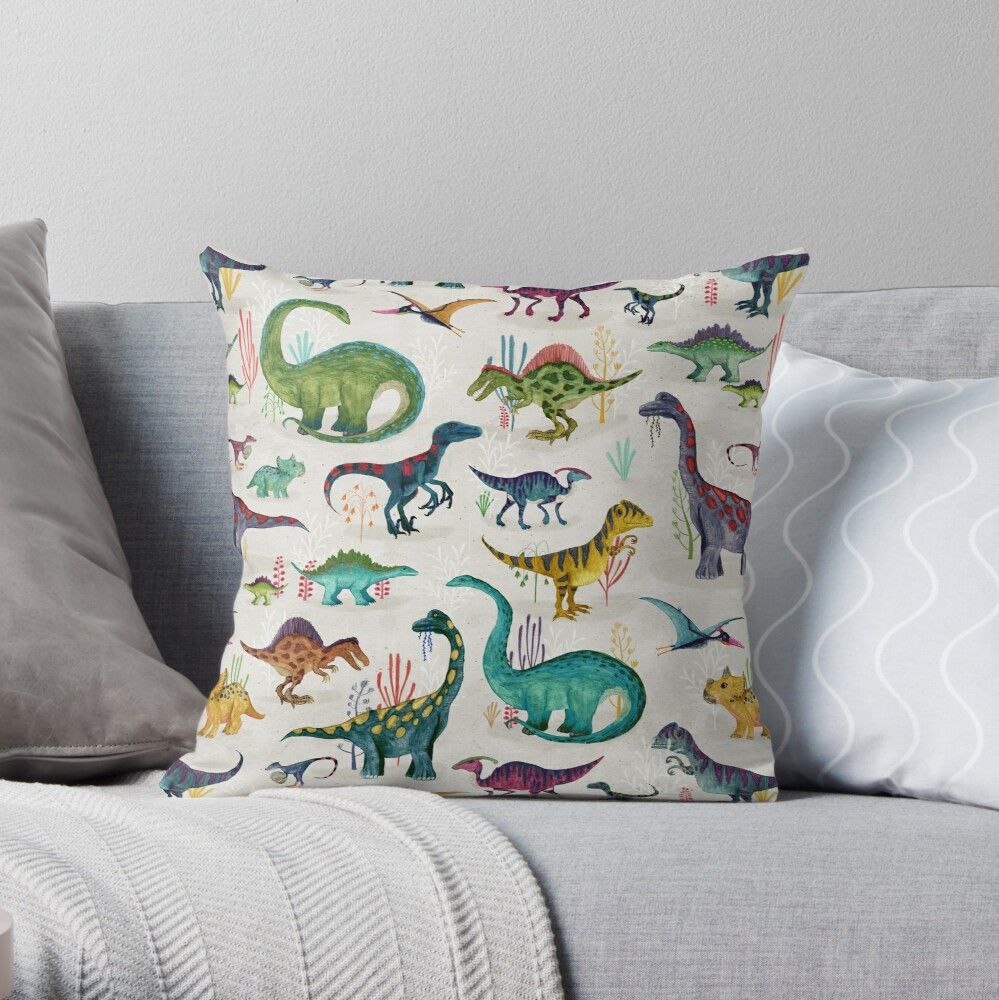 Bright Dinosaurs Throw Pillow