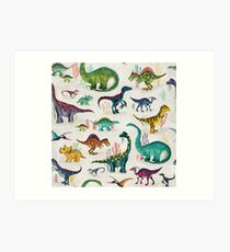 Bright Dinosaurs Art Print
