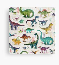 Lienzo metálico Dinosaurios brillantes