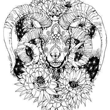 Painted Skull in Flowers - Black and White by plaguedog
