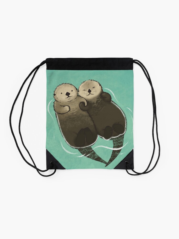 Alternate view of Significant Otters - Otters Holding Hands Drawstring Bag