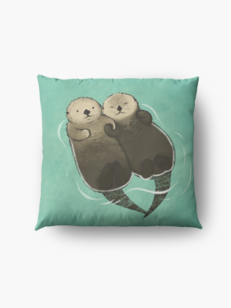 Alternate view of Significant Otters - Otters Holding Hands Floor Pillow