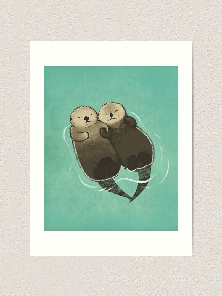 Alternate view of Significant Otters - Otters Holding Hands Art Print