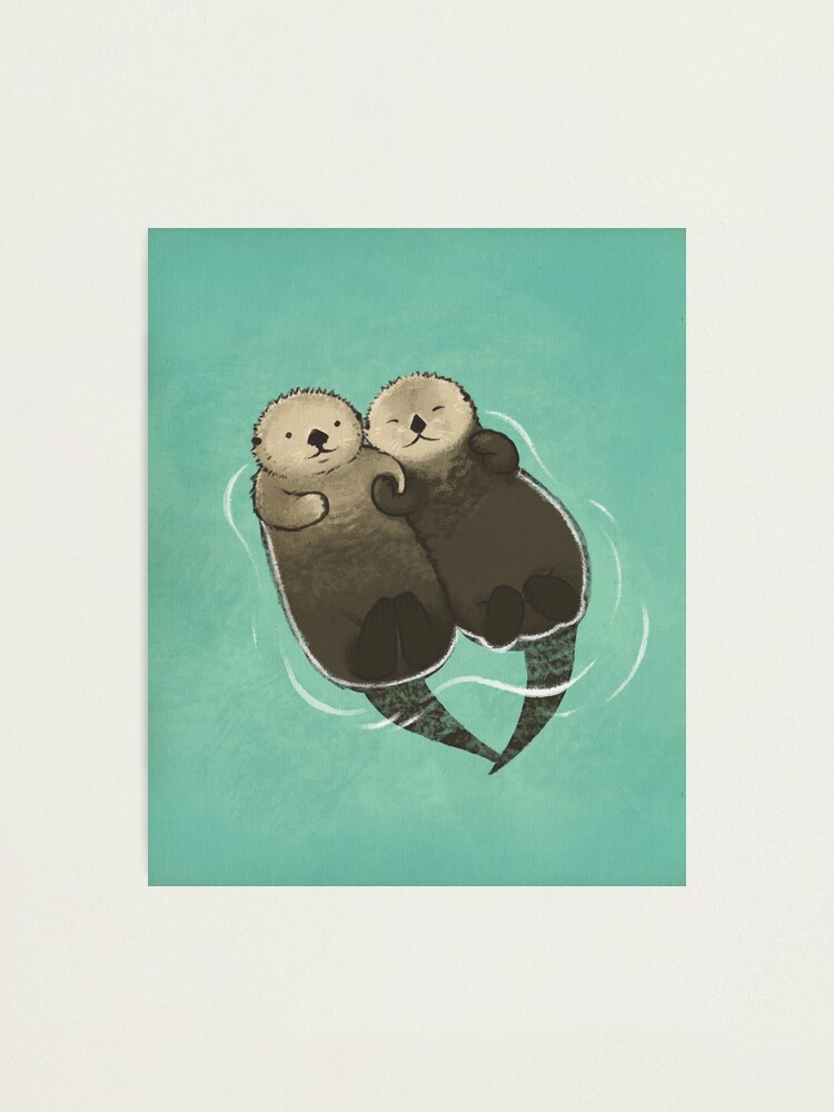 Alternate view of Significant Otters - Otters Holding Hands Photographic Print