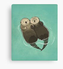Significant Otters - Otters Holding Hands Canvas Print