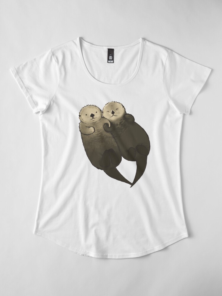Alternate view of Significant Otters - Otters Holding Hands Premium Scoop T-Shirt