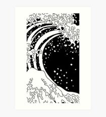 Black and White Great Wave Art Print